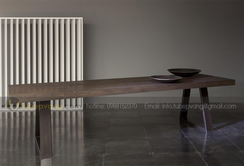 bàn ăn gỗ sồi nguyên tấm.