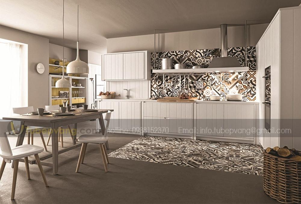 tủ bếp gỗ sồi hiện đại