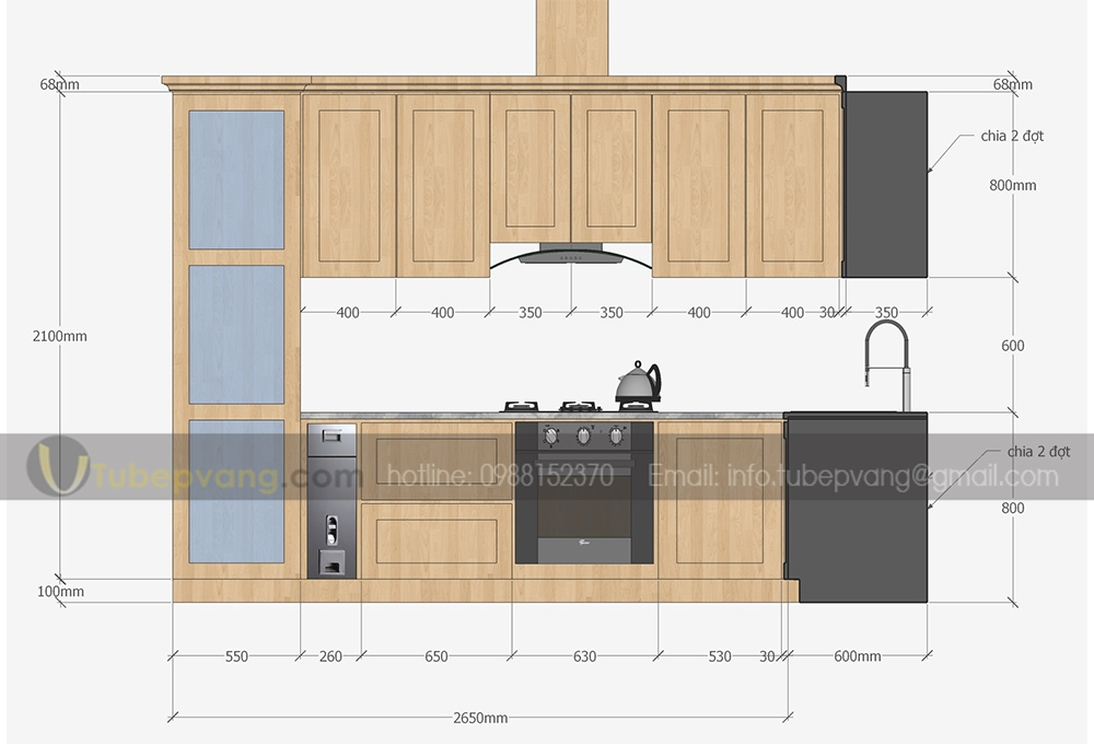 thiết kế tủ bếp gỗ sồi