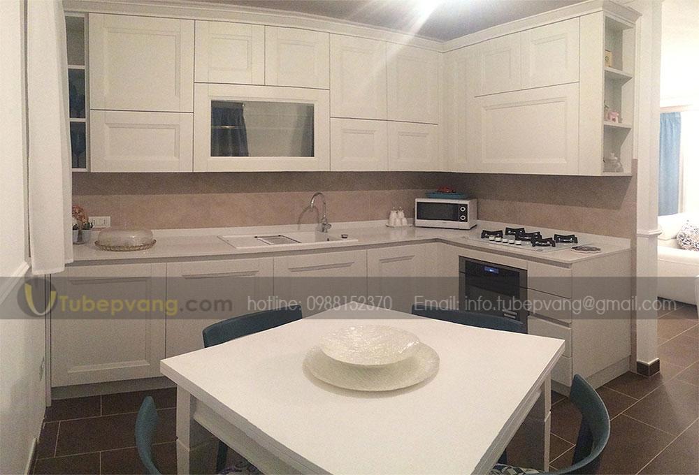 tủ bếp nhỏ gỗ sồi sơn trắng